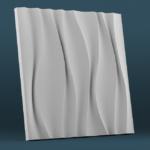 В1_3D_панель_3Д_Волна_белый_500*500_декоративный камень_полинка_POLINKA.BY
